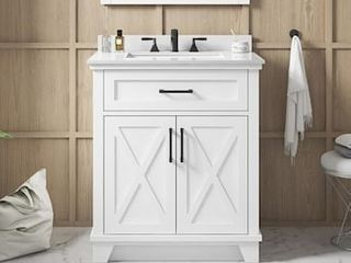 allen   roth Oliver 30 in White Single Sink Bathroom Vanity with White Engineered Stone Top