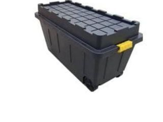 Centrex Plastics  llC Commander 64 Gallon Black Tote with latching lid