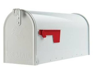 Gibraltar Elite Medium  Galvanized Steel  White Post Mount Mailbox
