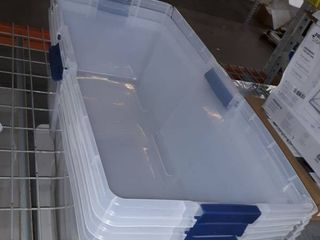 3 clear HEFTY storage bins with lids
