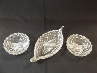 American Fostoria Style Divided Dishes  3