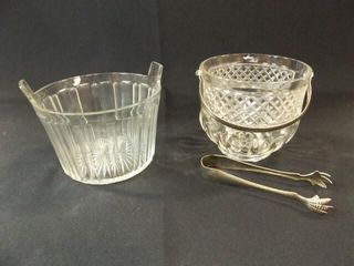 Clear Glass Ice Buckets  2  Tongs