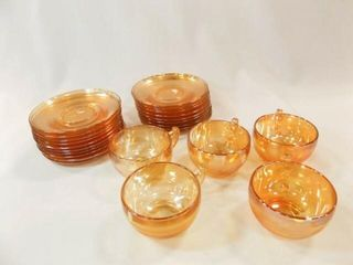 Carnival Glass Saucers  19  Cups  6