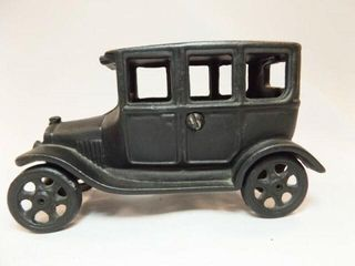 Cast Iron Black Car  6  marked Iron Art