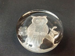 Owl Imprinted Glass Paperweight