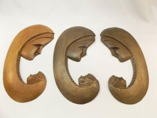 Carved Wood Mother and Child Pieces  3