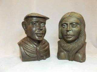 Wood Carved Busts  Male  Female  2