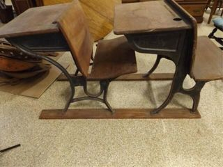 Wood   Metal Double School Desks