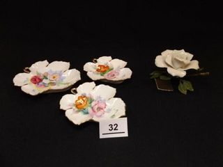 leaf Shape Plate Set  3  Italian Flower