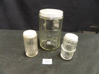 Glass Canister w 2 Spice Jars