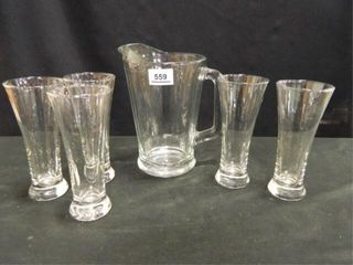 Glass Pitcher w 5 Drinking Glasses