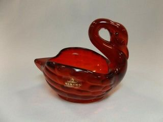 Viking Red Glass Swan Bowl  41 2