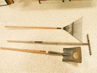 Yard Tools  Shovel and 2 Rakes