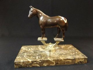 Metal Horse on Stone Base  7  x 8  x 4