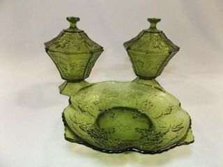 Green Glass Grape Pattern  3 Pieces