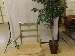 Wood Spring Movement Green Chair  Tree