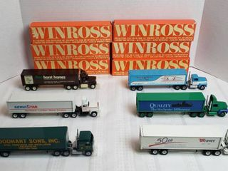 6 Winross Trucks   4 long Nose Style   2 Cab Over Style   WIll SHIP