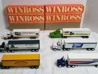 6 Winross Trucks   4 long Nose Style  1 Cab Over Style   1 Day Runner   WIll SHIP