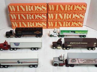 6 Winross Trucks   5 long Nose Style   1 Cab Over Style   WIll SHIP