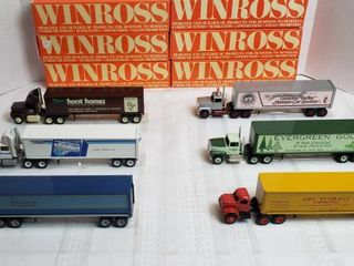 6 Winross Trucks   4 long Nose Style  1 Cab Over Style and 1 Vintage Day Runner   WIll SHIP