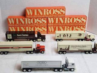 5 Winross Trucks   3 long Nose Style and 2 Cab Over Style   WIll SHIP