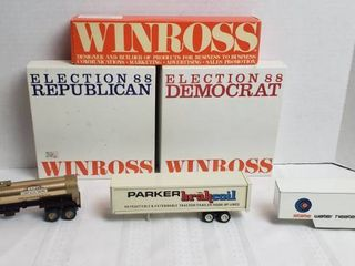 3 Winross Trailers Only and 2 Empty Political Parties Boxes   WIll SHIP