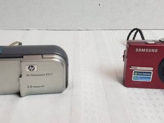 HP Photosmart E317 Digital Camera  powers on w 2 AA Batteries  and Samsung l200 Digital Camera  need battery or charger