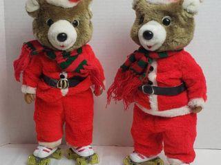 Pair of Vintage Battery Operated Roller Skating Animated Santa Bears   both need 2 new AA batteries