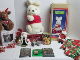 Sledding Bunny  Table runner w 2 Napkins  Stuffed Reindeer  Glass Ornament  Mini Ornaments  and other Decorations