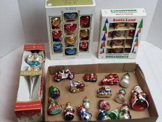 Vintage Glass Ornaments   Tree Topper  2 Boxes and many individuals
