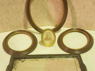 3 Wood Oval Frames  11x 14 in     2  8 5 x 10 5 in  Vintage Framed Mirror  10 x 19 in  and Antique Photo w Goldmine Metal Frame  5 5 in  tall
