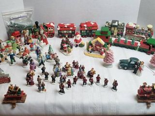 Christmas Mini Trains  Ceramics  Wood    Plastic  and Miniature Ceramic and Resin People