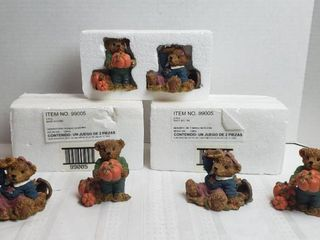 5 Pairs of Home Interiors   Gifts   Resin Fall Bears  2 sets still taped up in Styrofoam packages