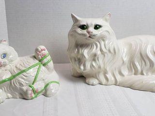 2 Ceramic White Cats   kitten has a couple chips on ears   cracks on base