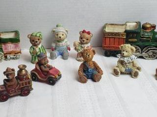 Bear Figurines  Resin   Ceramic  and a Pair of locomotive Planters