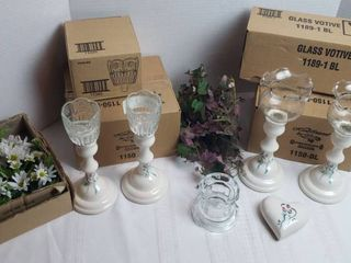 Home Interiors   Gifts Candle Holders and Faux Flowers  Greenery