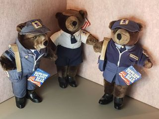 3 patriot bear mail carrier plush stuffed animal teddy bear   19 to 20 in  tall