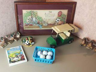 Golf Decor   logo Golf Balls  6 Wood Ducks  Framed Print Artwork  21 x 13 in  and Shrek DVD
