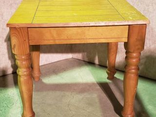 Wood Accent Table   scratches on Top   21 5 x 19 5 x 20 in  tall