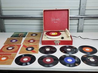 Imperial Party Time Solid State Portable Record Player  works  and 45 records