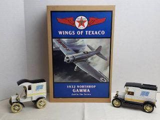 Ertl Diecast Vehicle   Airplane Banks   1905 Ford Delivery Car  no box  1913 Ford Model T Van  no box  and Texaco 1932 Northrop Gamma Airplane  NIB