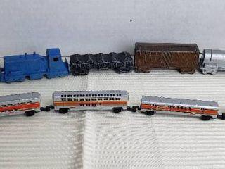 Vintage Midgetoy Diecast 5 Car Train and Galoob Plastic 5 Car Train  needs batteries