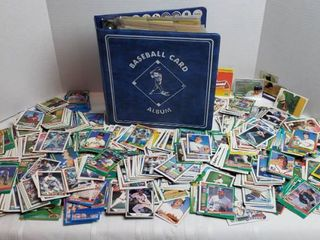 Baseball Card Album 3 ring Binder w cards and Numerous Single Cards