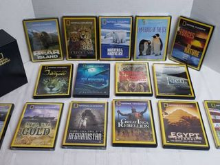 National Geographic DVDs   15 Cases  8 Factory Sealed  w Cardboard Holder