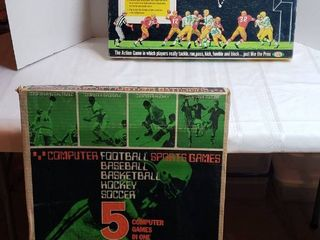 Vintage Ideal NFl All Pro Football Game  1967  Electronic Data Control Corp  5 in One Computer Sports Games  1972  Football  Baseball  Basketball  Hockey and Soccer