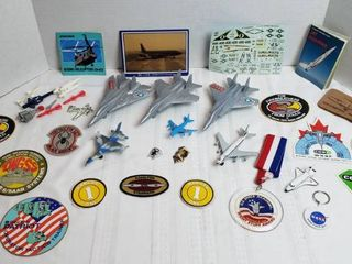 Plastic   Die Cast Planes  NASA Shuttle Items  Military Decals and Patches