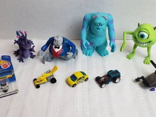 Monster Inc  Toy Figures  Hot Wheels  Matchbox and Plastic Helicopter