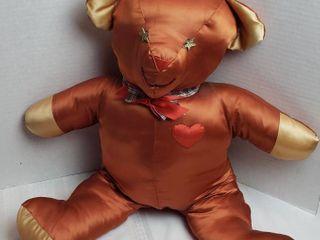 Hand Made Rust Satin Stuffed Bear   Starry Eyed   23 in  tall