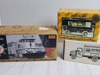 Ertl Diecast Collectibles  NIB    Texaco Tugboat  Eastman Kodak and Churchill Delivery Truck