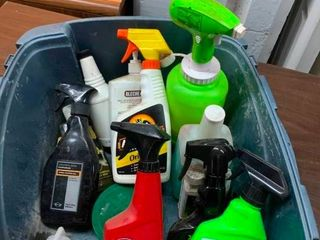 Bucket of car cleaning supplies